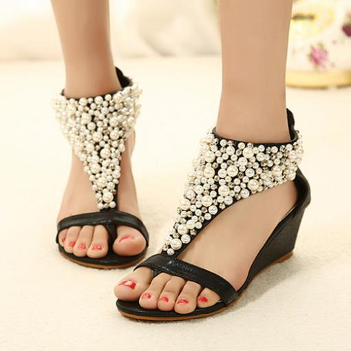 2ae7ffe43f736d 2014 New Women Designer Fashion Ladies Or Girls Summer Beading Bohemian  Gladiator Comfortable Wedge Flat Sandals Free Shipping-in Women s Sandals  from Shoes ...