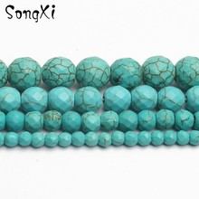 Wholesale Faceted Blue TURQUOISES Stone Round Beads For Jewelry Making Beadwork DIY Bracelet Necklace 4 6 8 10 12mm 15 Inches