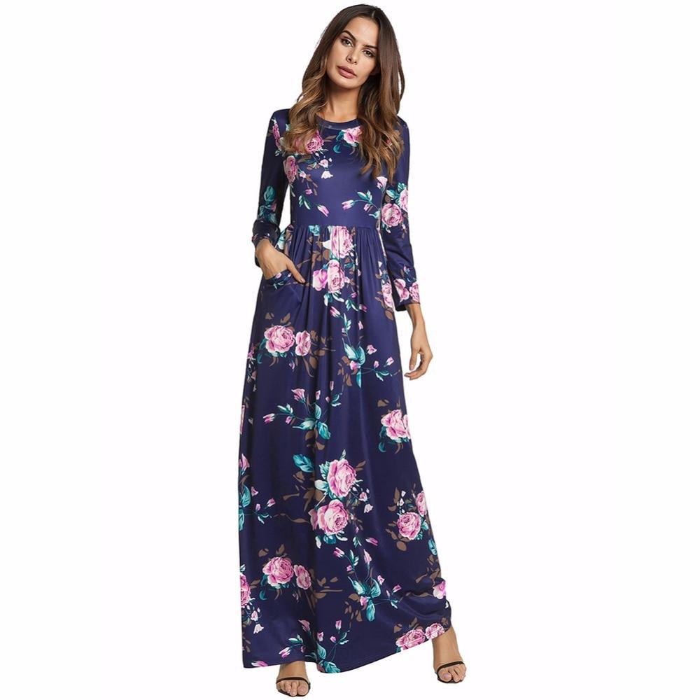 ddf4ce976ea Printemps blanc Club Maxi 2018 Vintage Robes Sexy Femmes Soirée Partie Bleu  Casual Plage Longue Floral ...