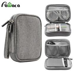 Travel Electronic Accessories Cable Organizer Bag Portable Case SD cards Flash Drives wires earphones double layer storage box