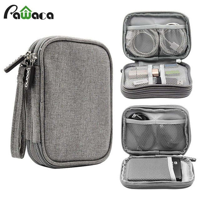 230efba772 Travel Electronic Accessories Cable Organizer Bag Portable Case SD cards  Flash Drives wires earphones double layer storage box