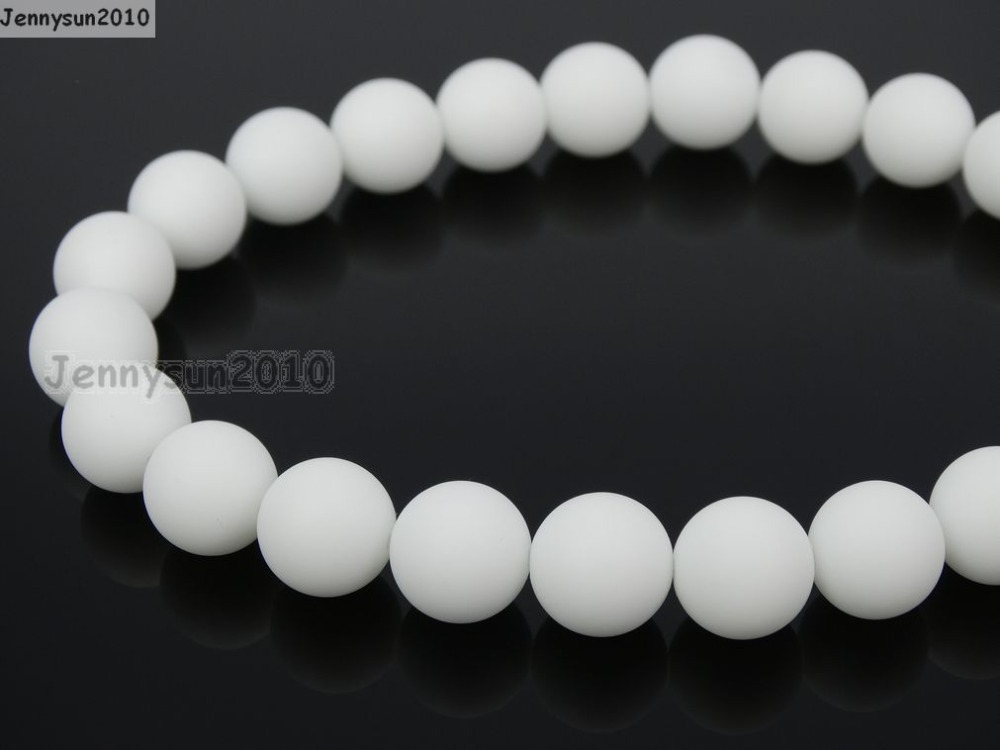 "Natural Matte White Alabaster 10mm Frosted Gems stones Round Ball Loose Spacer Beads 15""   5 Strands/ Pack"