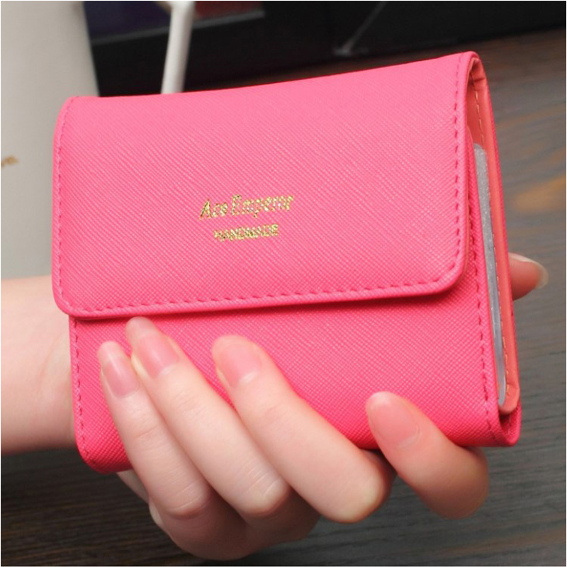 OUGOLD 20card slot wallet female leather cute solid coin purse hasp  3 fold short mini wallet women Credit  card holders ougold women wallet famous brand fashion smooth pu leather female thin hasp wallets red credit card holders