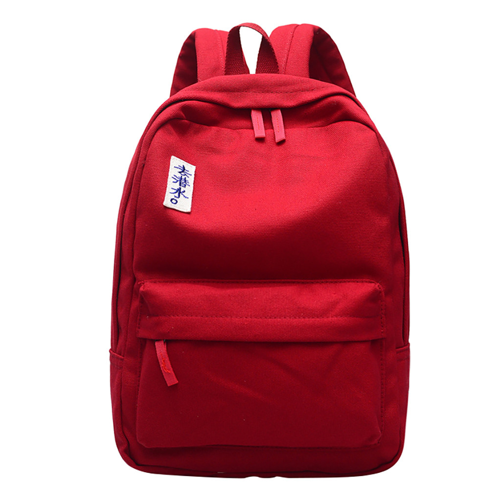 <font><b>Unisex</b></font> Laptop red <font><b>Backpack</b></font> School Bag Rucksack Anti Chinese Letter Canvas Pure Color <font><b>Backpack</b></font> Shoulder Bag Zipper Packages #15 image