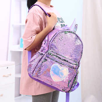 Girls Fashion Sequins Unicorn Backpack Women PU Leather Large Capacity Bag Girl Book Bag Satchel School Bag For Teenager Student - DISCOUNT ITEM  44% OFF All Category