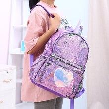 בנות אופנה פאייטים Unicorn תרמיל נשים עור מפוצל גדול קיבולת תיק ילדה ספר תיק ילקוט בית ספר תיק עבור נער תלמיד
