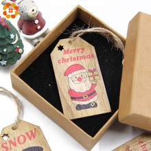 3PCS Multi Lovely DIY Christmas Wooden Pendant Ornaments Wood Craft For Xmas Tree Ornament Christmas Party Decorations Kids Gift