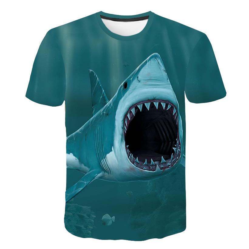 2019 Shark Fish 3D Men T-shirt Printed Summer Surfing short sleeve shirt Harajuku Men Women 3D Fishing T shirt Lover Style Tee