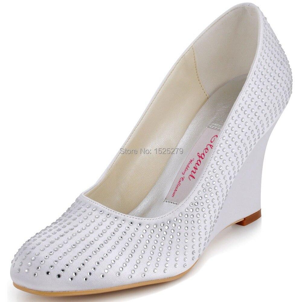 ФОТО EP2002 White Women Formal Evening Party Pumps Lady Wedge Heels Prom Rhinestones Satin Bridal Wedding Shoes