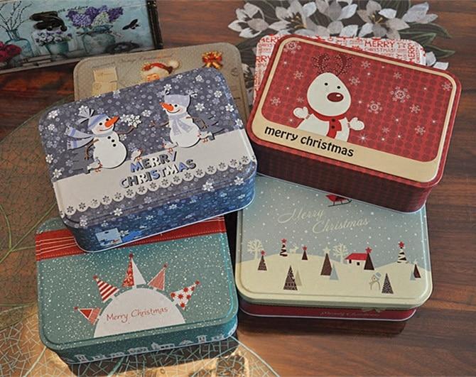 Christmas Style Tin Box Metal Storage Box Jewelry Case Candy Box Christmas gift case