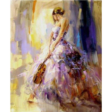 DIY 5D Diamond Embroidery Crystals  Mosaic Picture the girl with violin Round Painting Cross Stitch Kits