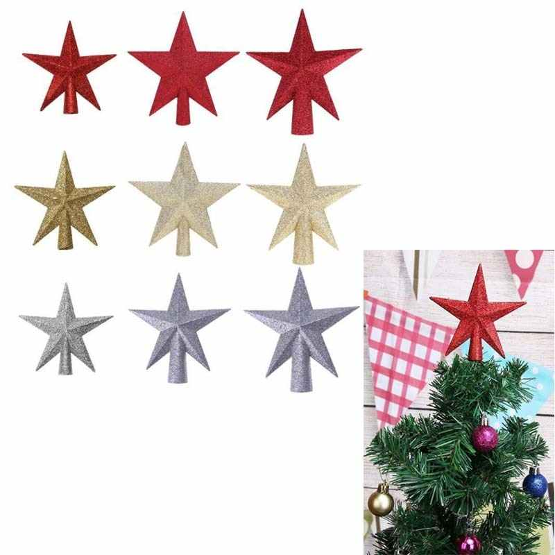 beae55dd5b6d Glitter Stars Christmas Tree Top Sparkle Red/Gold/Silver Star Xmas  Ornaments Topper Home