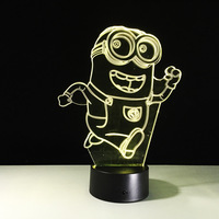 Novelty Minions Stuart Kevin 3D LED Night Light 7 Color Changing Remote Control Table Lamp For