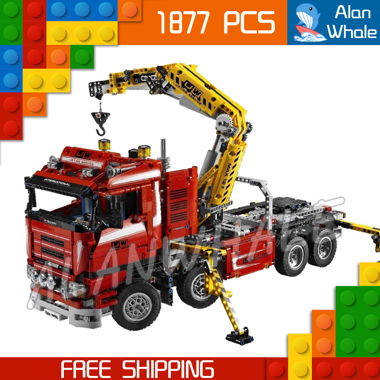 1877pcs Techinic Motorized Crane Arm Truck Arms 20013 DIY Model Building Kit Blocks Toys Transport Carrier Compatible With lego 720pcs techinic 2in1 motorized container