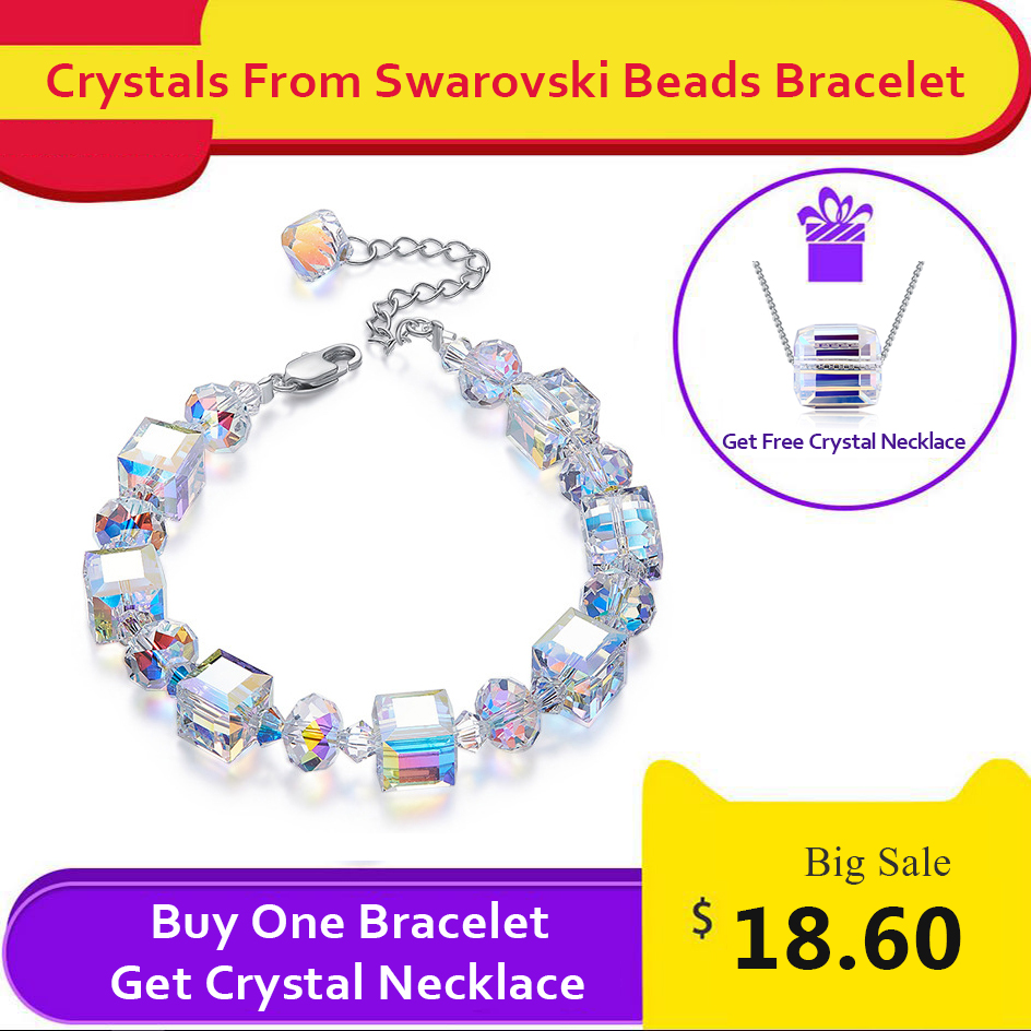 Luxury Beads Chain Bracelet Bangles Crystals From SWAROVSKI Silver Color Wrap Bracelet Charm Hand Jewelry For Women Wedding Gift graceful rhinestone fox beads wrap bracelet for women