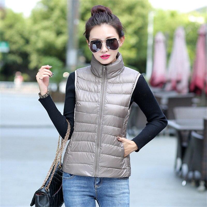 Colete Feminino De inverno,white Duck Down Slim Short Vest coat,autumn/winter outerwear,fashion Casual Stand Collar Vest TT1411
