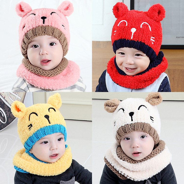 Baby cat hat scarf two - piece set autumn and winter boy and girl infant warm plush headset knit hat beanies baby hats scarves