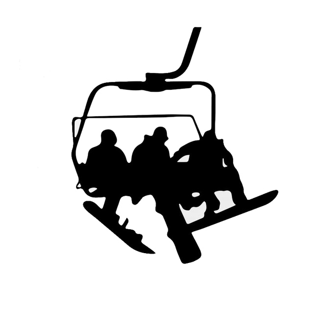 14*16.1cmfun ski cable car ride up the mountain car stickers cartoon