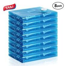 Atualização de embalagens 8 peças, grande bolsa de armazenamento a vácuo para embalagem, economizar espaço, selo, organizador de armário, dobrável