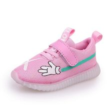 kids LED shoes breathable boys sport shoes printing girls glowing sneakers soft sole summer baby shoes with Lighting size 21-30(China)