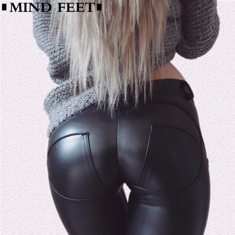 MIND FEET Peach Lift Hips Women Leather Pants PU High Elastic Thicken Curve   Leggings   Motion Fitness Casual Female Pencil Pants