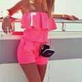 Hot Sale 2017 New Fashion Sexy Beach Womens One-Piece Ruffles Strapless Tops + Shorts Casual Romper Jumpsuits Summer Q3167