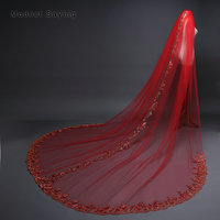 Top Quality Elegant 3M Sequined Lace Red Church Cathedral Wedding Veils Net 2018 Long Bridal Veils Bride Wedding Accessories