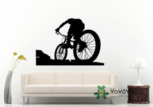 Removable Bicycle Rider On A Mountain Wall Sticker Sport Decal Vinyl  Mural Room Decoration accessories NY-99