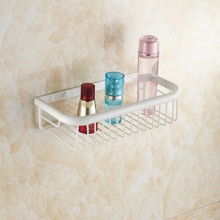 White painting   Shower Caddy Basket Bathroom Commodity Shelf  Brass Cosmetic Storage Rack Wall-mount инструменты для выпечки ali commodity cookie