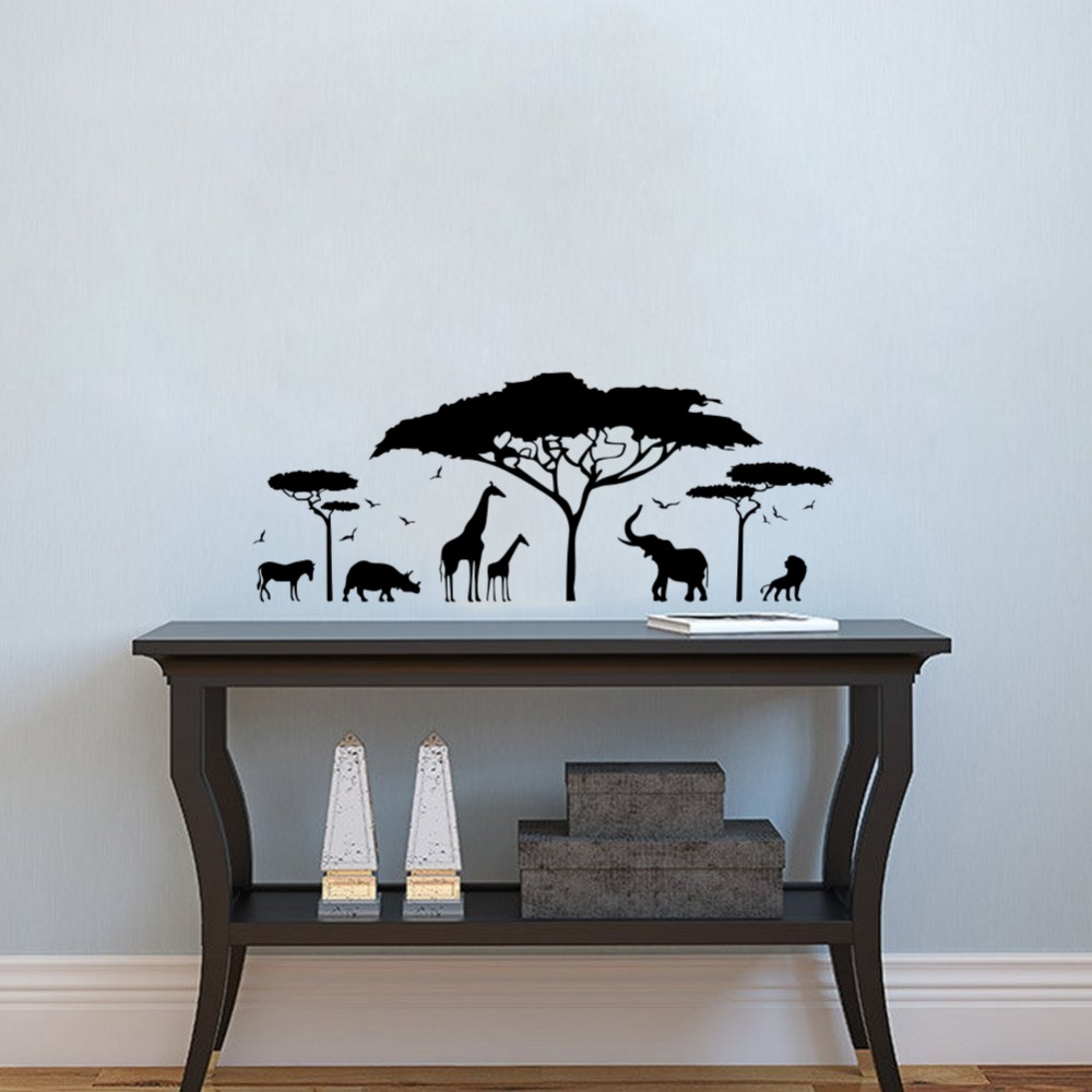 African Safari Animale de perete Sticker Copac Wall Decal Natura Giraffe Wall Art Grădini Decor