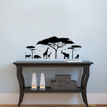 African Safari Animal Wall Sticker Tree Wall Decal Nature Giraffe Wall Art Nursery Decor