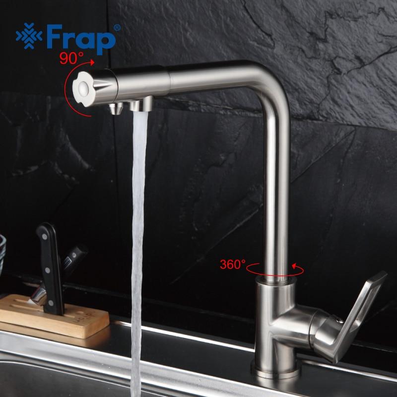 Frap Nickel Brossé Cuisine Robinet Angle Droit Conception 360 Degrés de Rotation avec Purification De L'eau Caractéristiques Mitigeur F4372-5