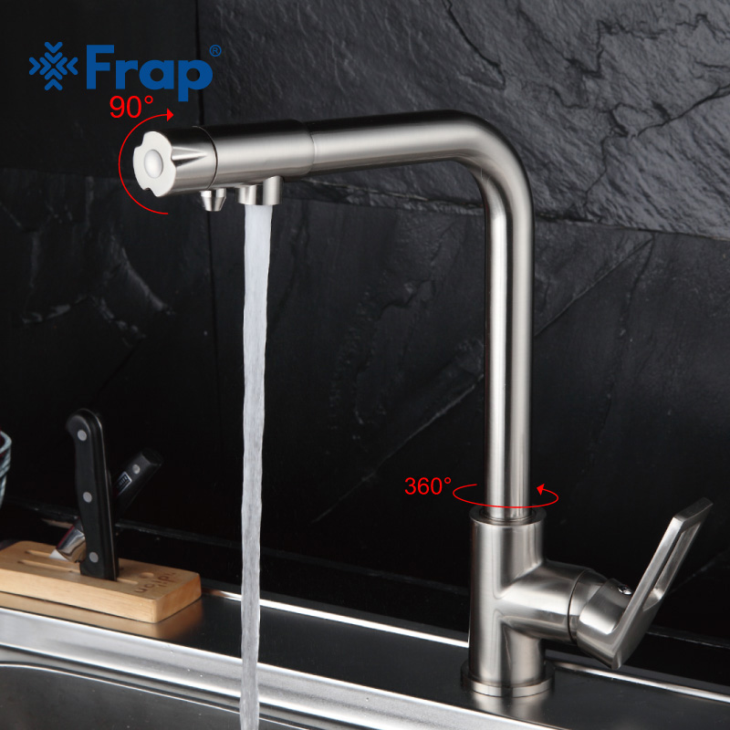 Frap Nickel Brushed Kitchen Faucet Right Angle Design 360 Degree Rotation With Water Purification Features Single Handle F4372-5