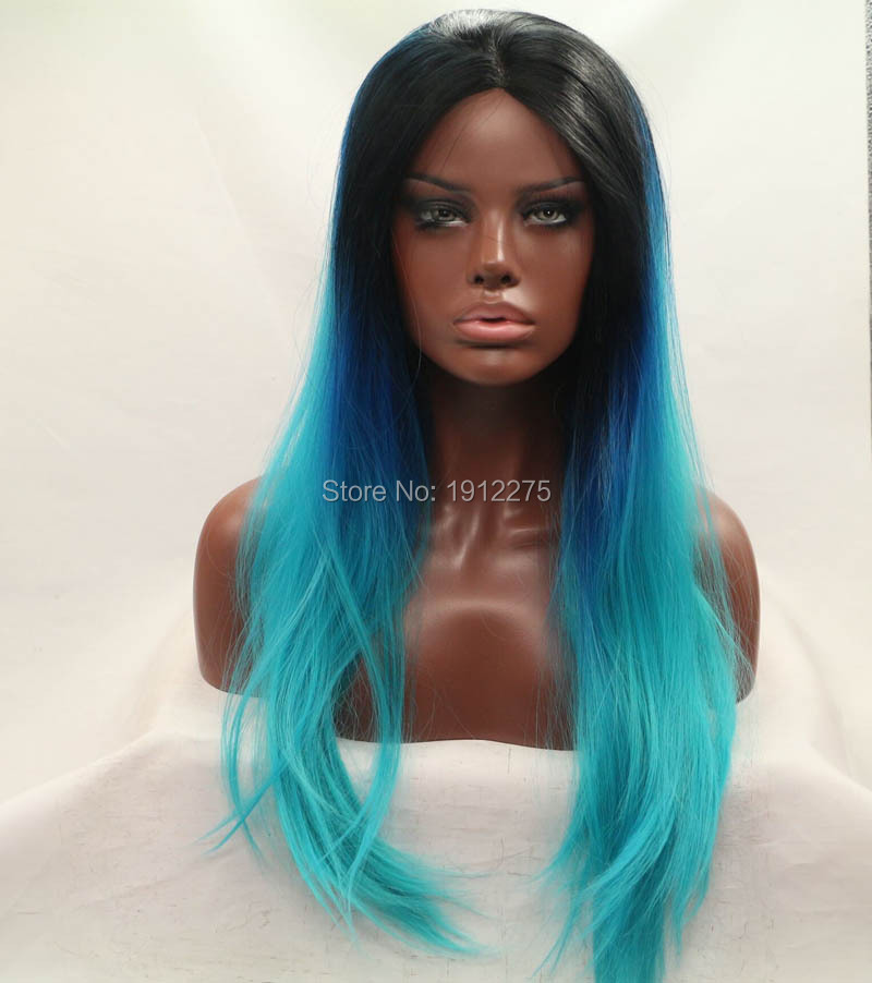 ФОТО in stock 3T ombre lace front wigs synthetic straight wig for women heat resistant hair free shipping