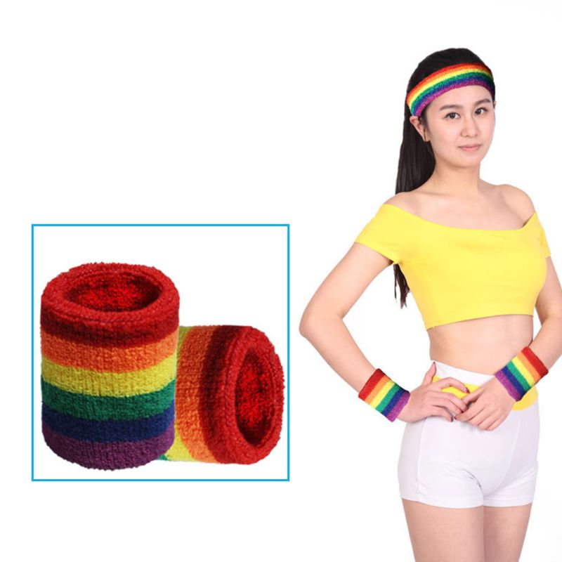 Unisex Sports Workout Rainbow Striped Headband Wrist Towel Sweatband Breathable Bracers Running Badminton Support Wrap
