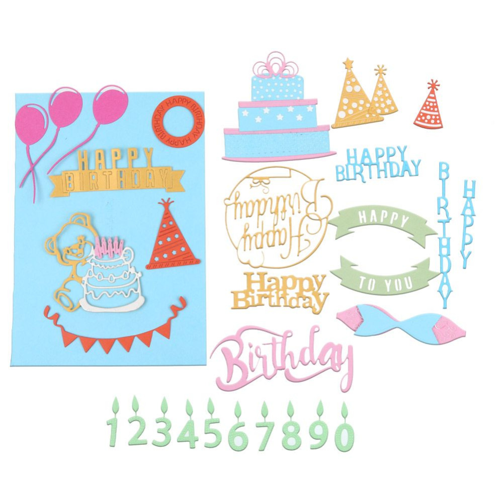 diy happy birthday paper crafts metal cutting dies for scrapbooking stencils diy letter candle and cake metal embossing die