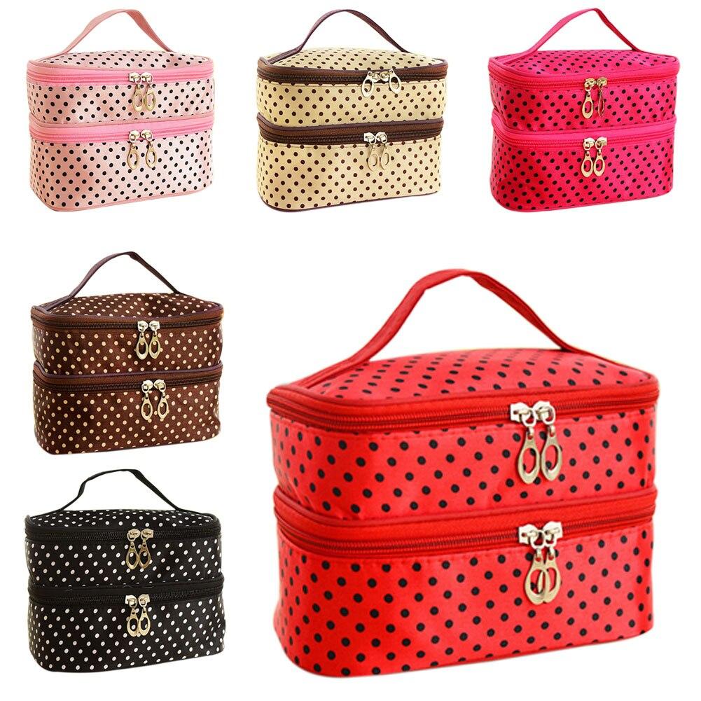 New Fashion Double-deck Travel Toiletry Beauty Cosmetic Bag Makeup Case Organizer Zipper Holder Handbag Trousse Maquillage Femme