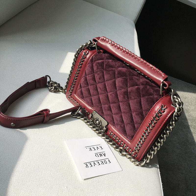 2017 Plaid Chain Fashion snakeskin Velvet women leather handbags day clutch women's bag small shoulder bag women messenger bags lydian velvet trunk bag 2018 winter new ostrich feather handbags tassel small women bag pink kiss lock shoulder messenger clutch