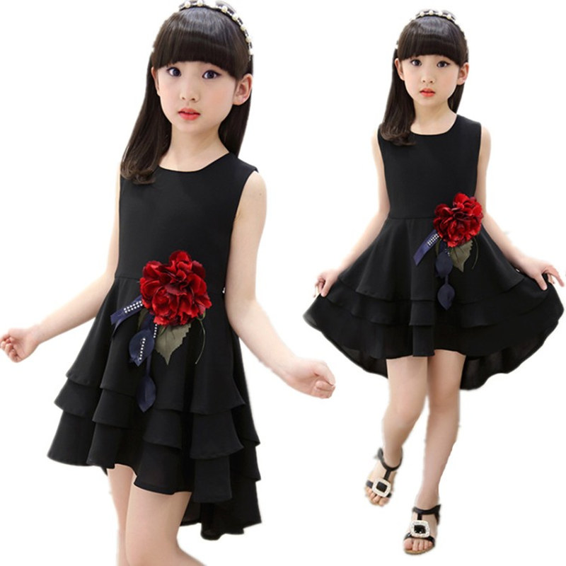 Retail New Style Summer Girl Print Flower Girl Chiffon Dress For Wedding Girls Party Dresses With Big Corsage 5 7 9 11 13 Years in Dresses from Mother Kids