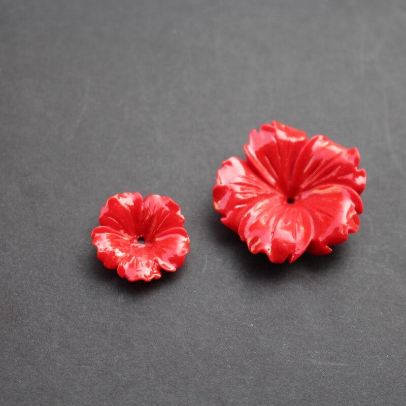 (10 peças/lote) esculpida 20mm 30mm flores espaço partes vermelho cor synthic coral descobertas para fazer jóias
