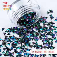TCT 047 Triangle Shape 3D Effect Colorful Glitter 3MM Size For Nail Glitter Nail Art Decoration