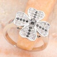 Flower Micro Inlays Black Tourmaline 3*3mm Semi precious Stone Silver Cool For Women Ring Q2565