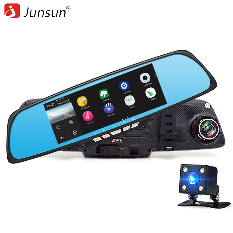 Junsun 6.86 Dual Lens Car Camera DVR GPS Rearview Mirror Android 4.4 Quad-core wifi Full HD 1080P dvrs Recorder built-in 16GB e ace car dvr android touch gps navigation rearview mirror bluetooth fm dual lens wifi dash cam full hd 1080p video recorder