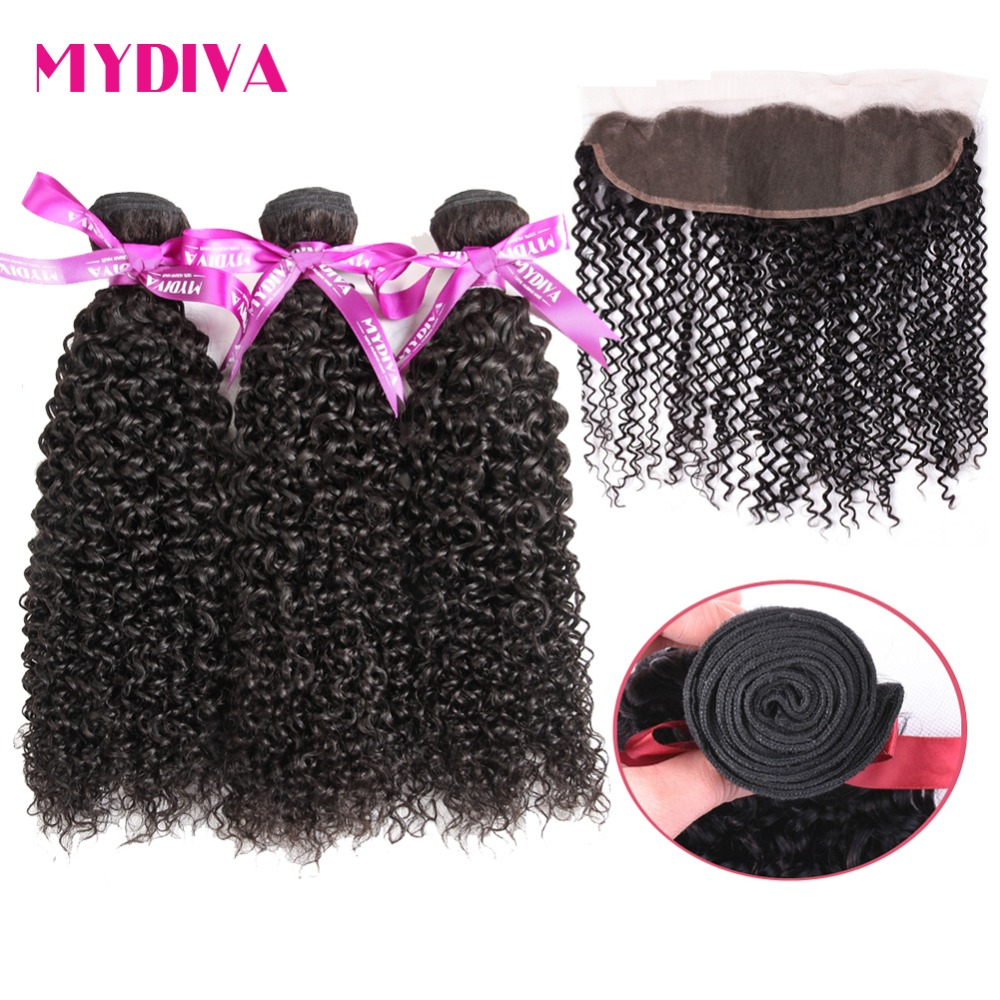 Human Hair Weaves 3/4 Bundles With Closure Fast Deliver Mydiva Brazilian Kinky Curly Hair With Closure 100% Non Remy Human Hair Weave Bundles With 13x4 Ear To Ear Lace Frontal Beneficial To Essential Medulla