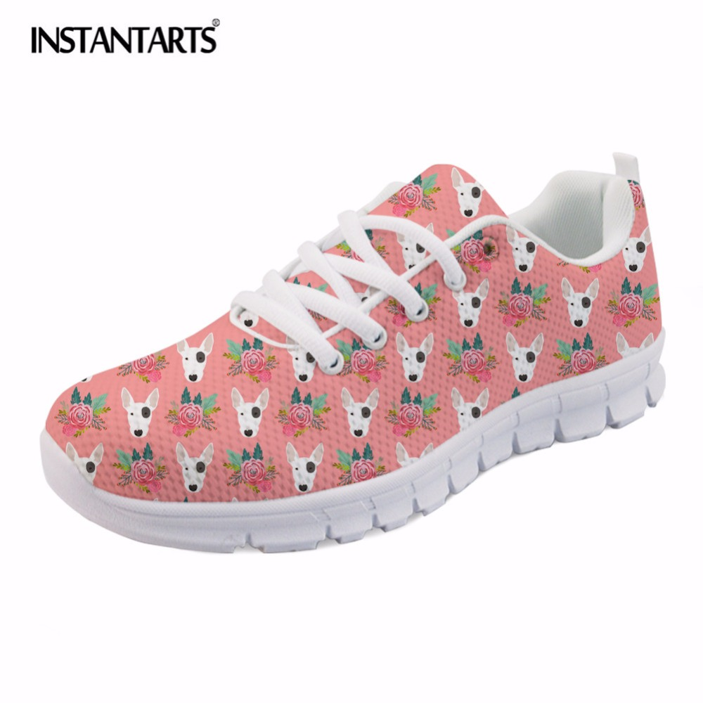 INSTANTARTS Casual Women's Mesh Flat Shoes Summer Lacing Sneakers Lovely Bull Terrier Printing Walking Shoes Lightweight Flats instantarts cute poodle dog pattern sneakers women s casual flats air mesh walking shoes ladies student outside shoes zapatos