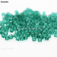 Isywaka 1980pcs Cube 2mm Blue Green Color Square Austria Crystal Bead Glass Beads Loose Spacer Bead