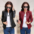 Spring Women Faux PU Leather Short Motor Jackets Zipper Pockets Sexy Punk Coat Ladies Casual Outwear Tops Solid Red /Black Color