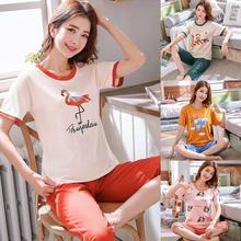 Yfashion Summer Pajamas Sets Homewear Women Cute Cartoon Print Short Sleeve Tops + Cropped Trousers 2pcs/set Femme