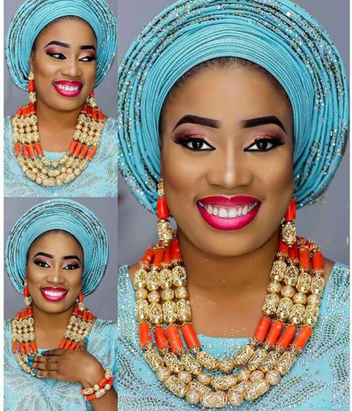 Fantastische Hochzeit Korallen Perlen Afrikanischen Schmuck Sets New - Modeschmuck - Foto 5