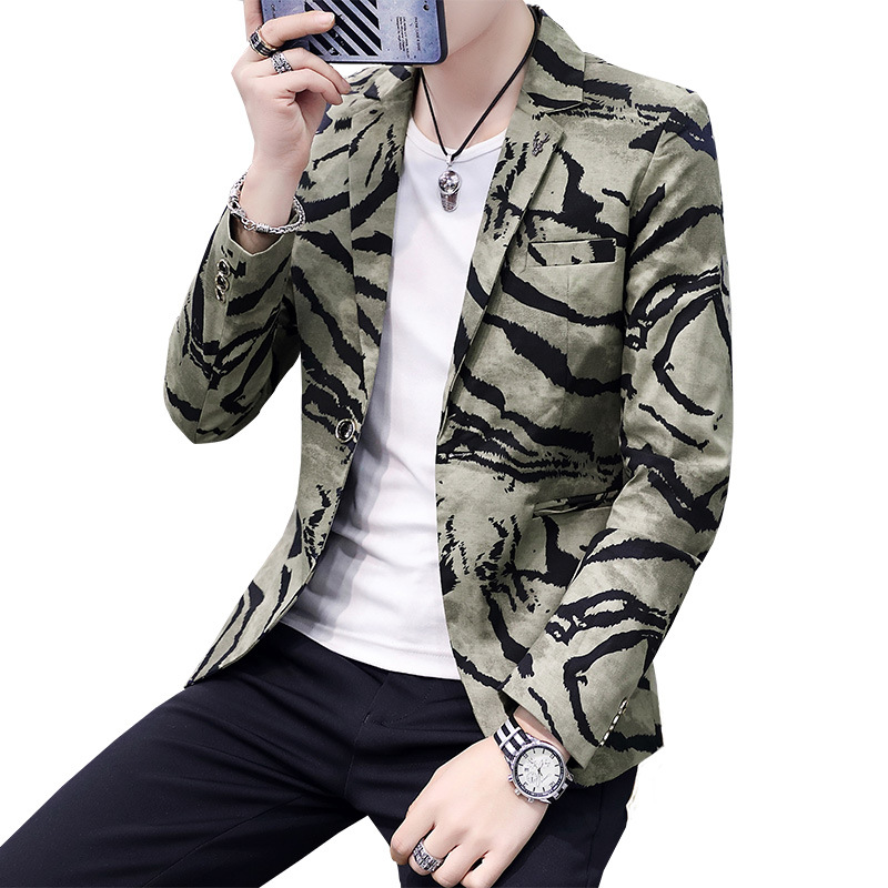 HO 2020 Spring Men's Camouflage Suit Youth New Print Handsome Suit